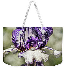 Weekender Tote Bag featuring the photograph Purple Iris by Jessica Manelis