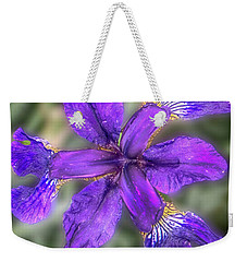 Weekender Tote Bag featuring the photograph Purple Iris by Judy Hall-Folde