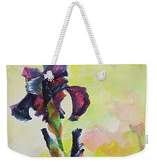 Weekender Tote Bag featuring the painting Purple Iris by Steve Henderson