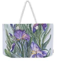 Purple Iris Watercolor Weekender Tote Bag