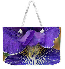 Weekender Tote Bag featuring the photograph Purple Japanese Iris Closeup by Jean Noren