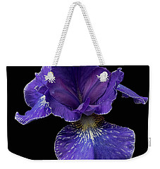 Weekender Tote Bag featuring the photograph Purple Japanese Iris by Jean Noren