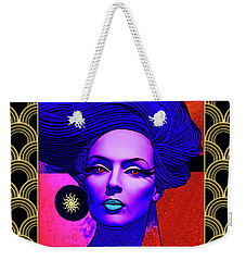 Weekender Tote Bag featuring the digital art Purple Lady - Deco by Chuck Staley