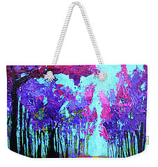 Weekender Tote Bag featuring the painting Purple Magenta, Forest, Modern Impressionist, Palette Knife Painting by Patricia Awapara