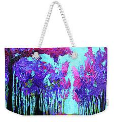 Purple Magenta, Forest, Modern Impressionist, Palette Knife Painting Weekender Tote Bag