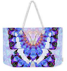 Weekender Tote Bag featuring the painting Purple Mandala Butterfly Art By Sharon Cummings by Sharon Cummings