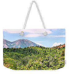 Weekender Tote Bag featuring the photograph Purple Mountain Majesty by Kristin Elmquist