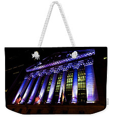 Purple New York Stock Exchange At Night - Impressions Of Manhattan Weekender Tote Bag
