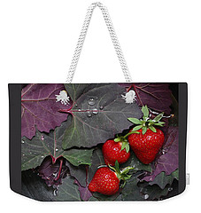 Purple Orach With Strawberries Weekender Tote Bag by Patricia Overmoyer