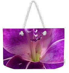 Weekender Tote Bag featuring the photograph Purple Orchid Close Up by Kim Nelson