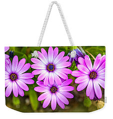 Weekender Tote Bag featuring the photograph Purple Pals by Az Jackson