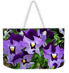 Weekender Tote Bag featuring the digital art Purple Pansy Abstract by Shelli Fitzpatrick