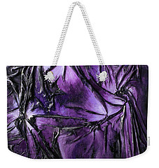 Weekender Tote Bag featuring the mixed media Purple Pedals by Angela Stout