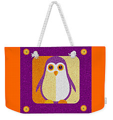 Weekender Tote Bag featuring the digital art Purple Penguin In A Box Mosaic  by Shelli Fitzpatrick