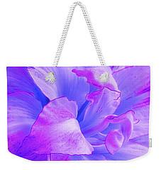 Purple Petals Abstract Weekender Tote Bag by Gill Billington