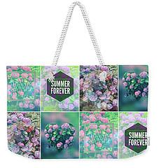 Purple Pink Hydrangea Geometric Patchwork Quilt Weekender Tote Bag