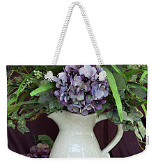 Weekender Tote Bag featuring the photograph Purple Pleasures by Sherry Hallemeier