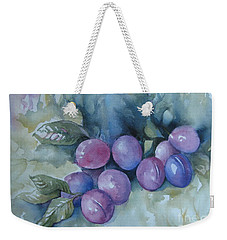 Weekender Tote Bag featuring the painting Purple Plums by Elena Oleniuc