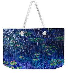 Purple Rain On Water Lilies Weekender Tote Bag