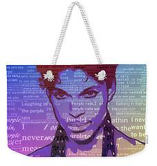 Purple Rain Typography Weekender Tote Bag