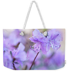 Weekender Tote Bag featuring the photograph Purple Rhododendron 1. Spring Watercolors by Jenny Rainbow