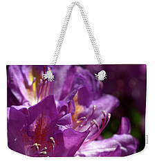Weekender Tote Bag featuring the photograph Purple Rhododendron by Baggieoldboy