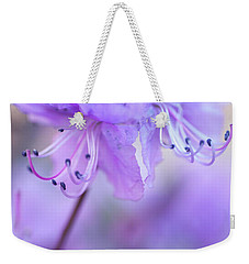 Weekender Tote Bag featuring the photograph Purple Rhododendron. Spring Watercolors by Jenny Rainbow