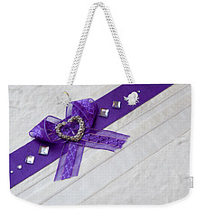 Purple Ribbon Heart Weekender Tote Bag