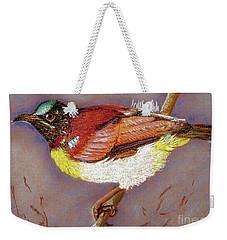Purple Rumped Sunbird Weekender Tote Bag by Jasna Dragun