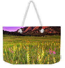 Purple Skies And Wildflowers Weekender Tote Bag by Scott Mahon