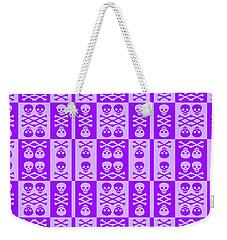 Purple Skull And Crossbones Pattern Weekender Tote Bag