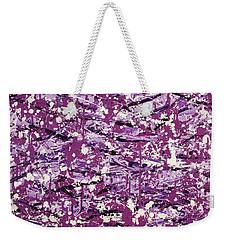 Weekender Tote Bag featuring the painting Purple Splatter by Thomas Blood
