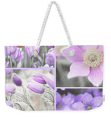 Weekender Tote Bag featuring the photograph Purple Spring Bloom Collage. Shabby Chic Collection by Jenny Rainbow