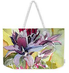 Purple Stem Aster Weekender Tote Bag by Mindy Newman