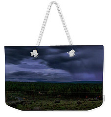Weekender Tote Bag featuring the photograph Purple Strikes by Cat Connor