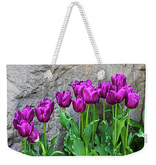 Weekender Tote Bag featuring the photograph Purple Tulips by Tom Mc Nemar