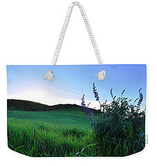 Weekender Tote Bag featuring the photograph Purple Wildflowers In Beautiful Green Pastures by Matt Harang