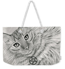 Weekender Tote Bag featuring the drawing Purrfect Page Of Pentacles - Tarot Card Art by Carrie Hawks