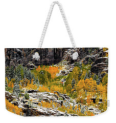 Weekender Tote Bag featuring the photograph Push Starting Winter by Jeffrey Jensen