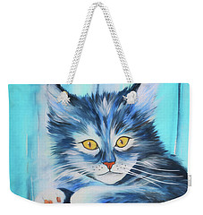 Weekender Tote Bag featuring the painting Pussy Cat by Jutta Maria Pusl