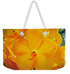 Put On A Happy Face Yellow Orchids Weekender Tote Bag by Sue Melvin