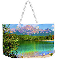 Pyramid Mountain Over Teal Waters Weekender Tote Bag