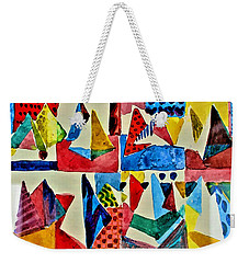 Weekender Tote Bag featuring the digital art Pyramid Play by Mindy Newman