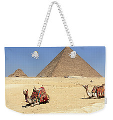 Weekender Tote Bag featuring the photograph Pyramids Of Giza by Silvia Bruno