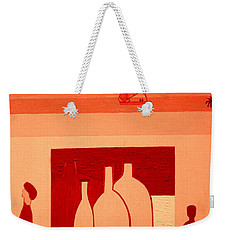 Weekender Tote Bag featuring the painting Pyramids On The Left by Bill OConnor