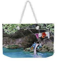 Weekender Tote Bag featuring the painting Laundry Day by Kris Parins