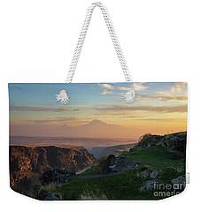 Qasakh Gorge And Ararat Mountain At Golden Hour Weekender Tote Bag by Gurgen Bakhshetsyan