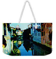 Weekender Tote Bag featuring the photograph Quaint On The Canal by Roberta Byram