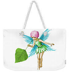 Quaking Aspen Tree Fairy Holding Leaf Weekender Tote Bag
