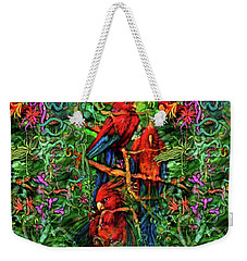 Weekender Tote Bag featuring the digital art Qualia's Parrots by Russell Kightley